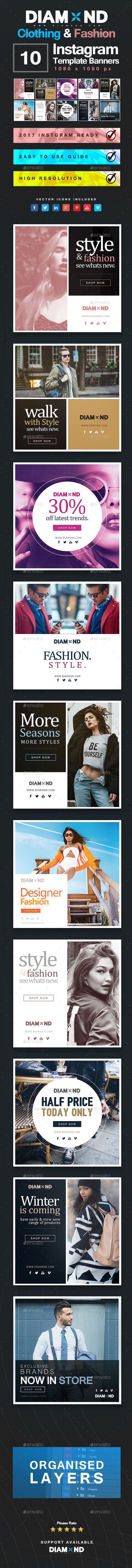Clothing & Fashion Instagram Templates - #Banners & Ads #Web Elements Download here: https://graphicriver.net/item/clothing-fashion-instagram-templates/20090127?ref=alena994