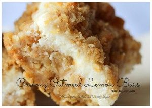Creamy Oatmeal Lemon Bars that melt in your mouth and satisfy that sweet craving! These healthy Oatmeal Lemon Bars are a great grab and go treat and they are sugarless!