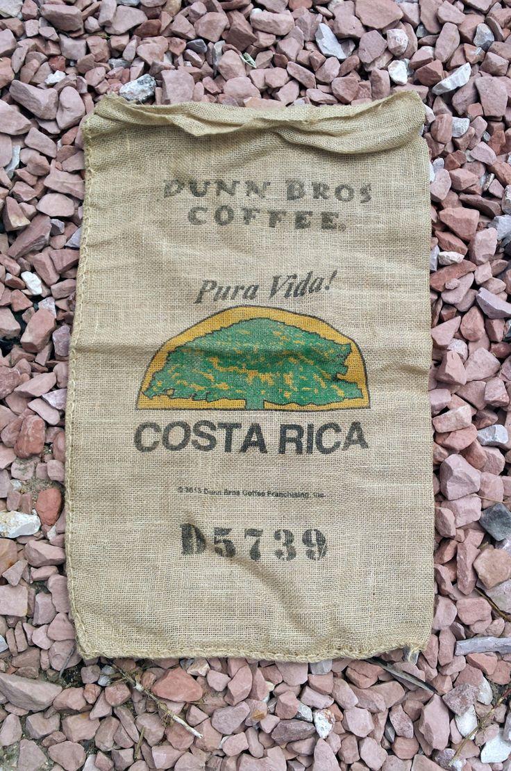 Costa Rica Pura Vida Burlap Coffee Bean Bag - Large Feed Sack - Coffee Lover Gift - Gunny Sack Wall Art - Coffee Home Decor - Craft Fabric by PseudoCrunchyMama on Etsy https://www.etsy.com/listing/233967289/costa-rica-pura-vida-burlap-coffee-bean