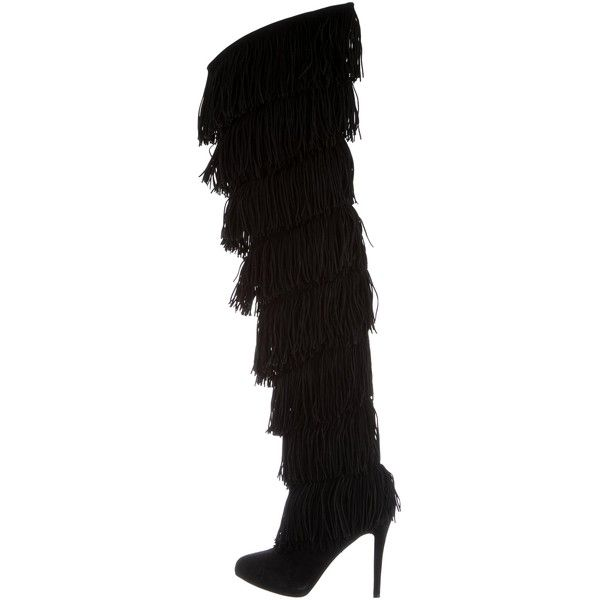 48b9de8a643 Pre-owned Christian Louboutin Thigh-High Fringe Boots (69,915 INR ...