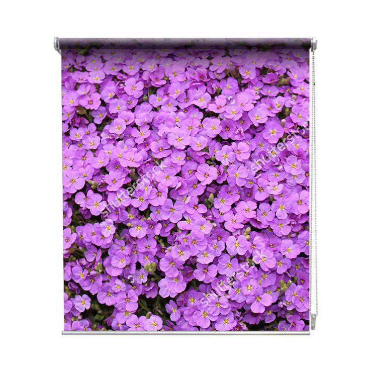 Rolgordijn Paarse bloemen