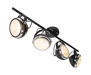 Plafondlamp Biker, zwart, L 100 cm