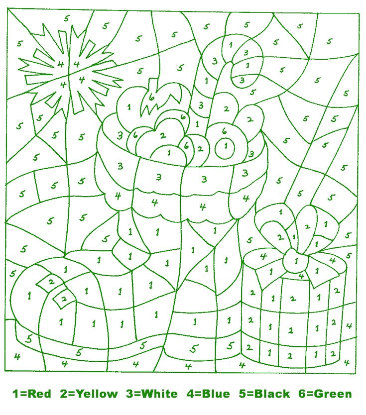 Kids Holiday Crafts - Christmas: Color By Number Stocking