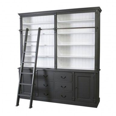 Biblioth que avec tag res 2 portes 6 tiroirs et une chelle noire blanche toutes les - Etagere echelle blanche ...