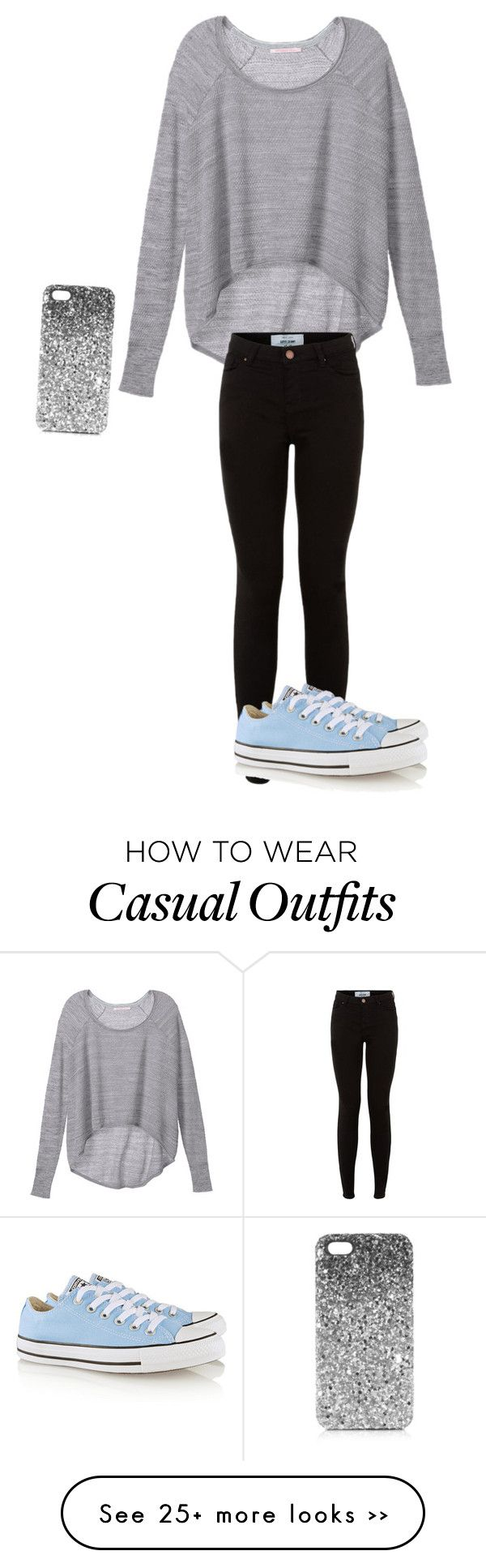 """Casual Winter"" by lillieputian on Polyvore featuring Victoria's Secret, Converse and Topshop"