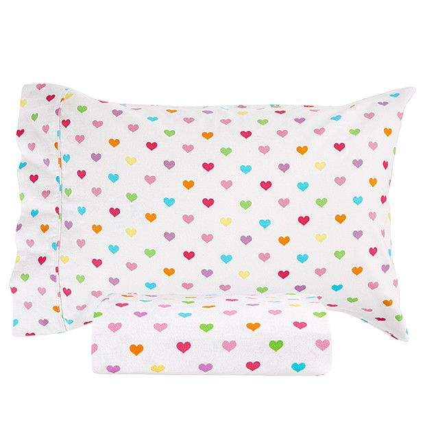 Ditsy Heart Flannelette Sheet Pack