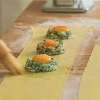 """Raviolo with oozy egg and smoked salmon from the lovely channel 4 series """"Simply Italian"""" with Michela Chiappa. How impressive would it be serving this up...?"""