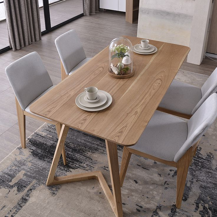 Nordic combination of solid wood dining table and 6 dining chairs