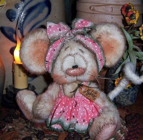 "Primitive Raggedy Ann Watermelon Mouse 6"" Bear Doll ★ Vtg Patti's Ratties Ornie"