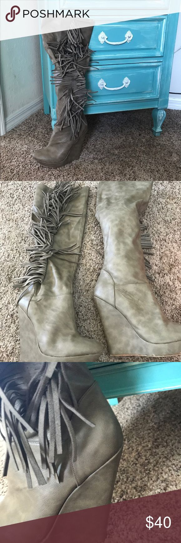 Victoria's Secret Catalog knee high boots Taupe tassel Sz 10 worn 1 time Moda International Shoes Over the Knee Boots