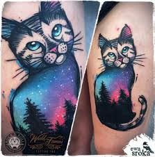 Image result for cat geometric tattoo dotwork color