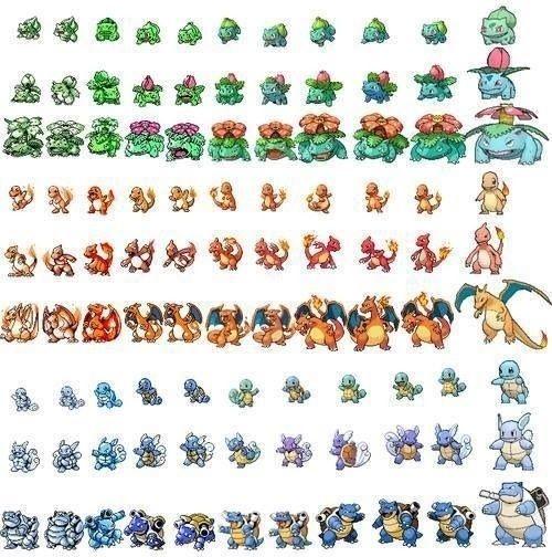 Evolution of #Pokemon Gaming Sprites via Reddit user AdventureBegins