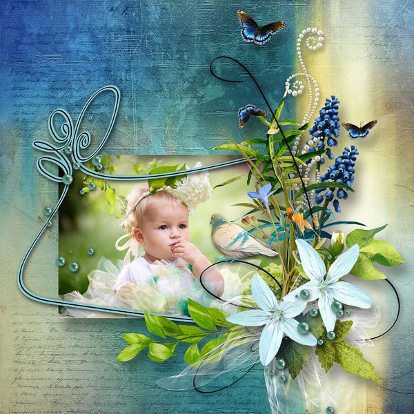 """Songes bleus"" by Elyscrap  http://www.paradisescrap.com/fr/kit-enfants-naissance/12936-songes-bleus-d-elyscrap.html photo Evgenia Kozhevnikova use with permission"