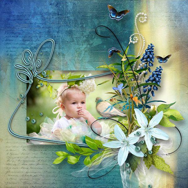 """""""Songes bleus"""" by Elyscrap  http://www.paradisescrap.com/fr/kit-enfants-naissance/12936-songes-bleus-d-elyscrap.html photo Evgenia Kozhevnikova use with permission"""