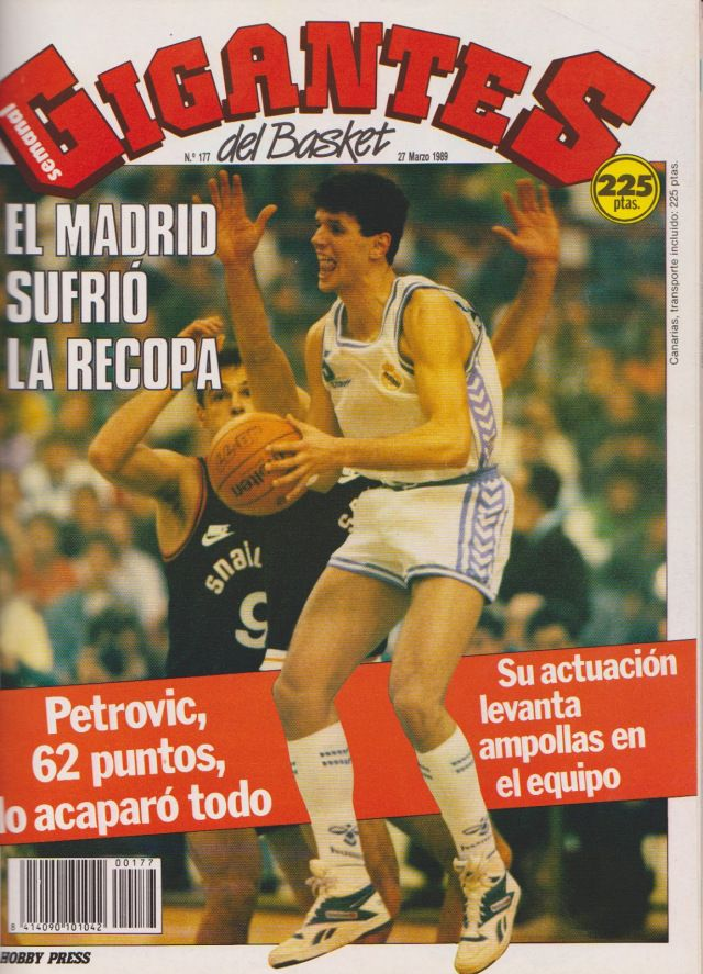 Naslovna strana magazina Gigantes del Basket, posvećena finalu Kupa pobednika kupova 1989.