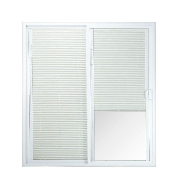American Craftsman 72 in. x 80 in. 50 Series White Vinyl Right-Hand Sliding Patio Door with Blinds