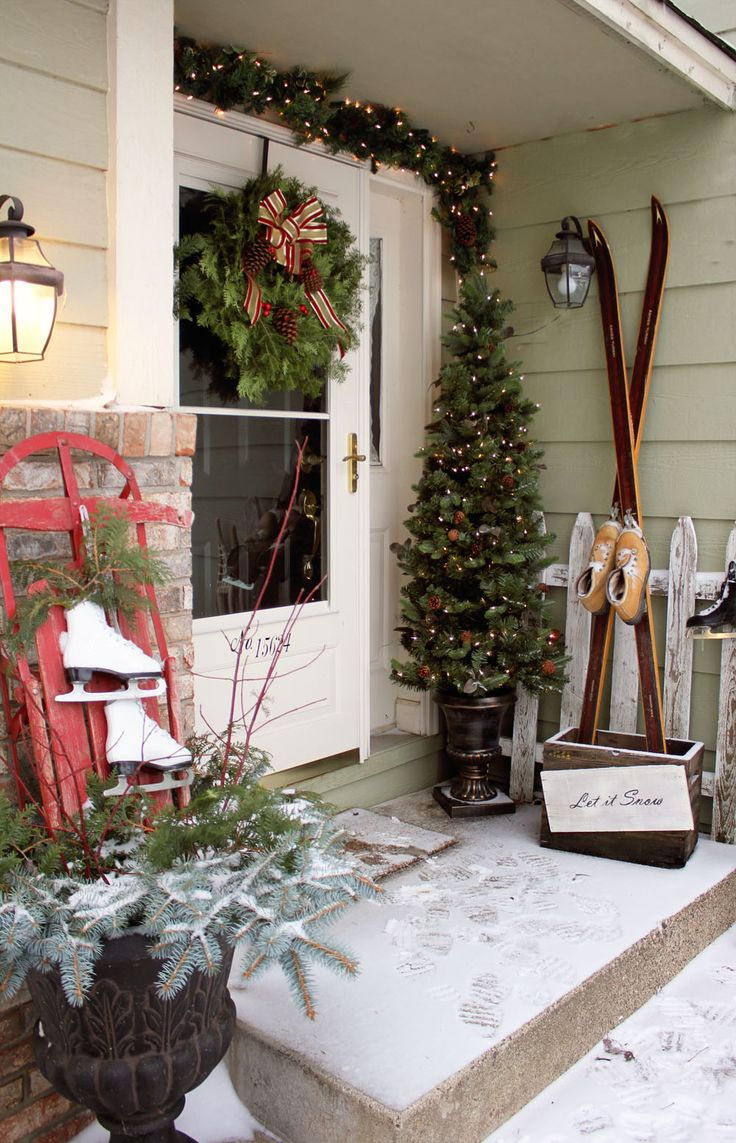 front porch decorating for Christmas