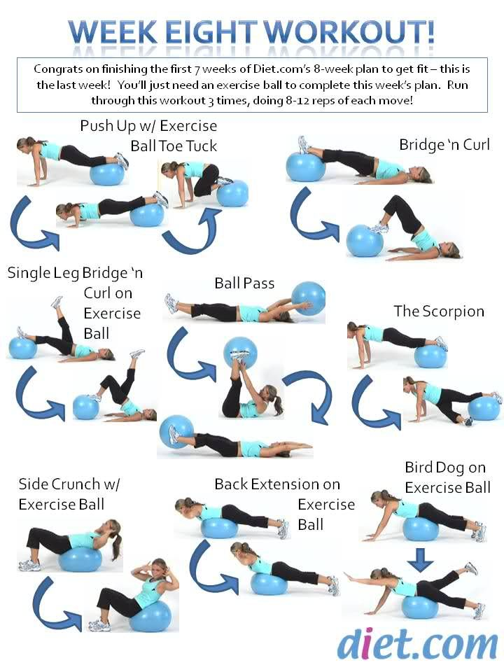 Week 8's workout plan uses an exercise ball - let us know how you did!