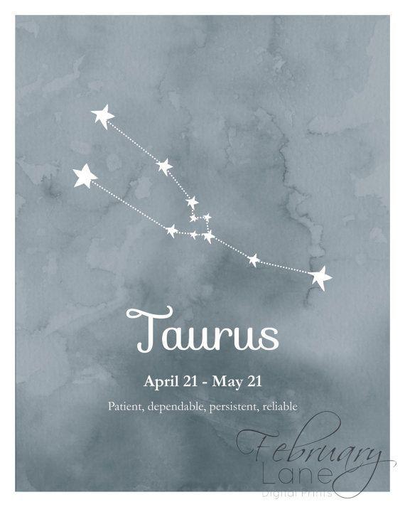 Taurus Zodiac Constellation Wall Art Printable 8x10 - Instant Download, Birthday…