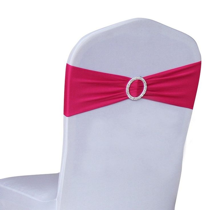 10 Pieces Rose Red Stretch Chairs Covers Bands with Ring Buckle Wholesale Wedding Decoration White Black Pink Purple Yellow V20