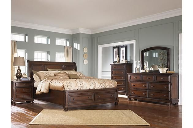 Rustic Brown Porter California King Sleigh Bed View 3