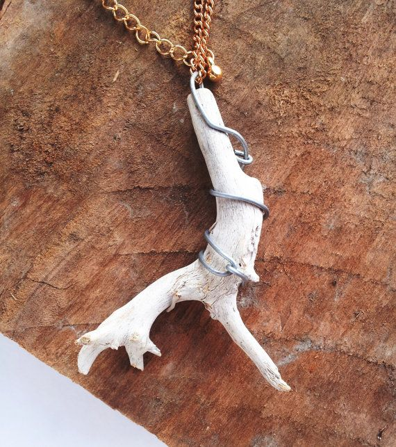 Driftwood Necklace / Rustic Antlers: Wood, driftwood jewelry, wooden necklace, unisex, woodland necklace, spring jewellery