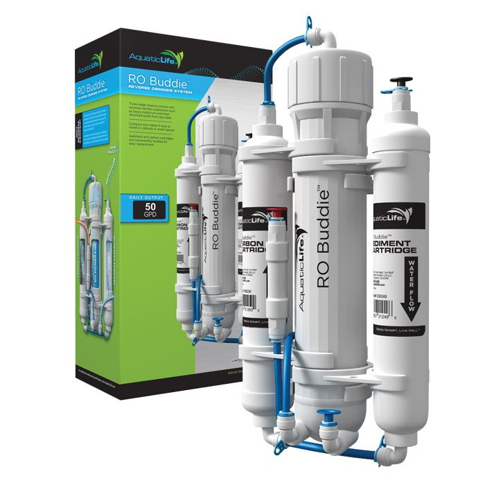 AquaticLife RO Buddie RO System - 50 gpd  | AquaticLife 50 GPD RO Buddie is a 3-stage RO unit that provides pure filtered water using carbon and sediment cartridges with a membrane. These units have tiny footprints, measuring 7.25 in. x 4 in. x 13.75 in., so they're easy to place, even in tight areas.