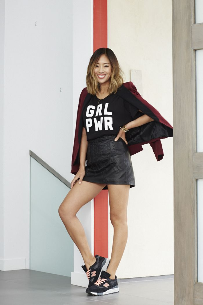 New Balance 998 June 8, 2015   by Song of Style  Aimee Song GRL PWR tee-leather mini skirt new balance sneakers