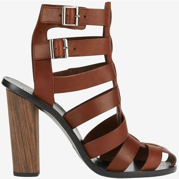 Vince Nicolette Saddle Strap Sandal (8,320 MXN) ❤ liked on Polyvore featuring shoes, sandals, brown, leather strappy sandals, brown high heel sandals, caged high heel sandals, strap sandals and chunky sandals