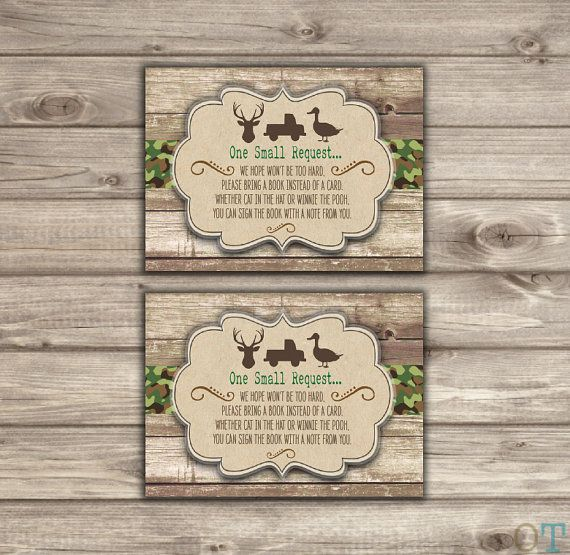 Book Request Camo Baby Shower Inserts Country Book Insert Rustic Instead Of A Card Baby Boy Br6247 Baby Shower Insert Baby Shower Camo Camo Baby Stuff