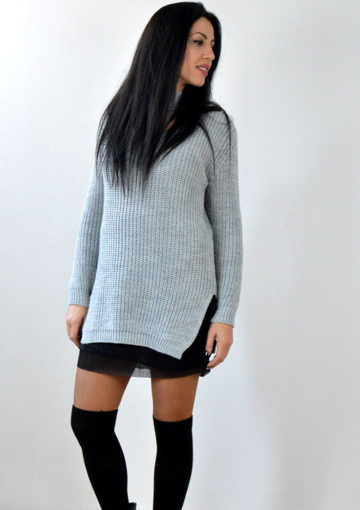 Μπλούζα Πλεκτή με Choker - ΓΚΡΙ | shop online: www.musitsa.com