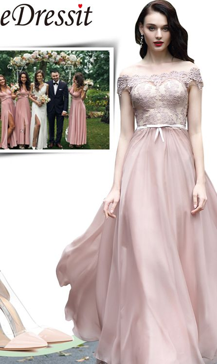 97d6e0333417 #eDressit Blush Off Shoulder Lace Prom Dress, Graduation Dress, Wedding  Guest Dress
