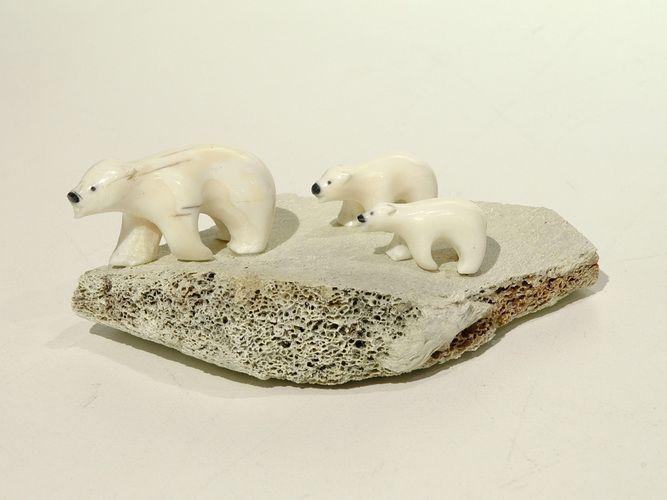 Bear and Cubs by Emily Pangnerk Illuitok, Inuit artist