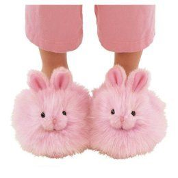 Pink fluffy bunny slippers... awww :)