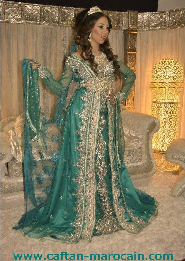caftan du mariage en turquois