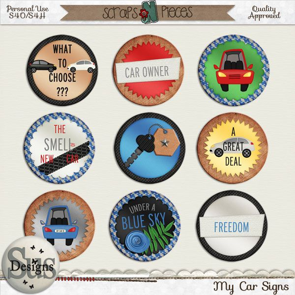 My Car Signs #SusDesigns #DigiScrap #Scrapbook #ScrapsNPieces