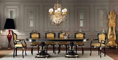 Black and gold - the combination of pure elegance. Dining room from Villa Venezia collection http://www.modenesegastone.com/eng/classic/html/villa-venezia.htm