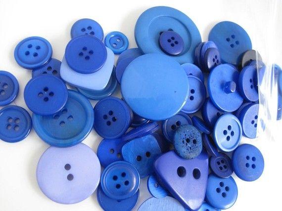 Button Mix True Royal Blue Mix x 50g 2oz by BigFish on Etsy, £3.80