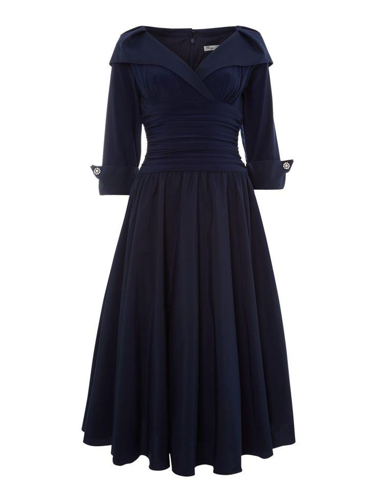 Eliza J 3/4 sleeve ruched waist dress offers enviable Hepburnesque elegance, in an instant.