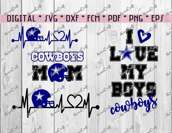 SVG COWBOYS DALLAS set of 4 cliparts digital by MamaCraft4You