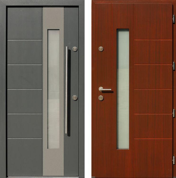 Drzwi wejściowe z aplikacjamii ze stali nierdzewnej inox wzór 471,2-471,12 antracyt + orzech
