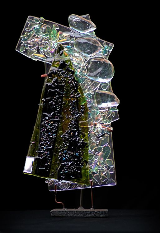 """First Frost by Suzanne Wallace Mears, kiln formed glass, 19"""" tall, $1800. #abstractart #glass #santafe #pippincontemporary #suzannewallacemears"""