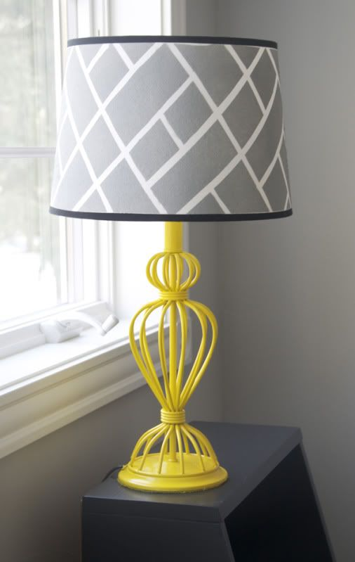 DIY target lamp redo...lamp shade is taped and painted...cute!!