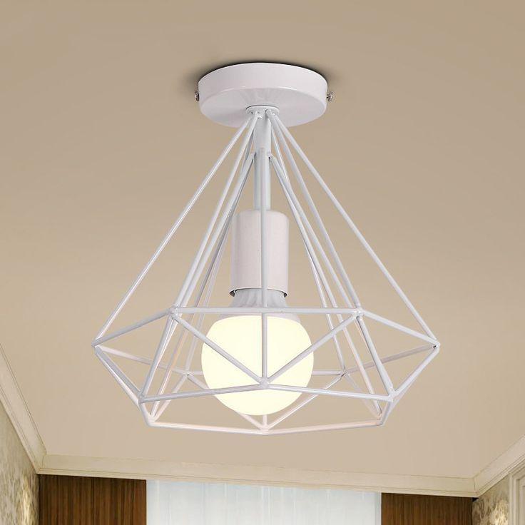 modern black birdcage ceiling lights iron minimalist retro ceiling lamp Scandinavian loft pyramid lamp metal cage with led bulb #Affiliate