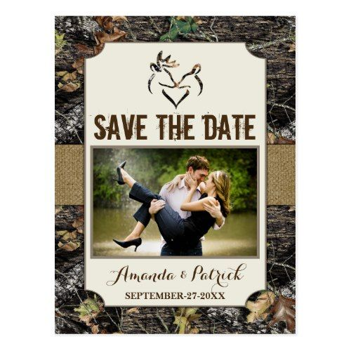Camo Save the Date Wedding Invitations Photo Country Rustic Deer Camo Save The Date Cards