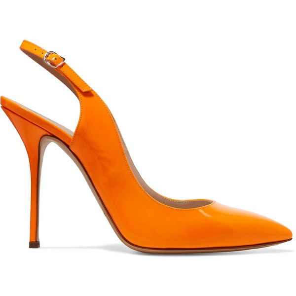 Casadei Neon patent-leather slingback pumps (£160) ❤ liked on Polyvore featuring shoes, pumps, orange, neon pumps, patent pumps, slingback platform pumps, neon platform pumps and patent leather pumps