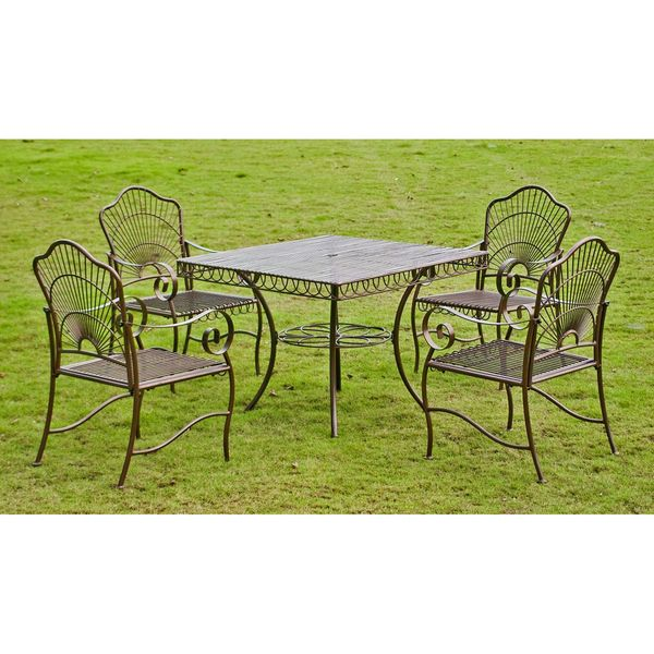 international caravan sun ray five piece iron lawn furniture set by international caravan patio furniture setsoutdoor