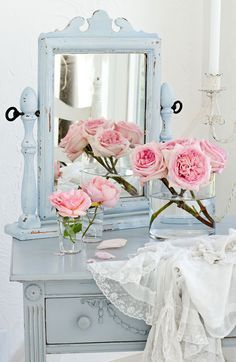 French Blue Mirror Shabby Chic Vanity Vintage Rose Collection Antiques Decor Romantic Homes