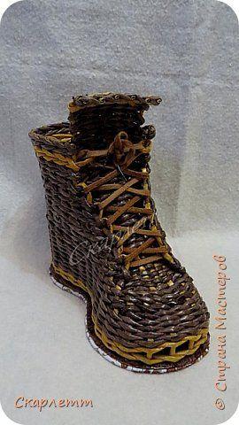 Поделка изделие Плетение Башмачки на завалинке  Трубочки бумажные фото 7
