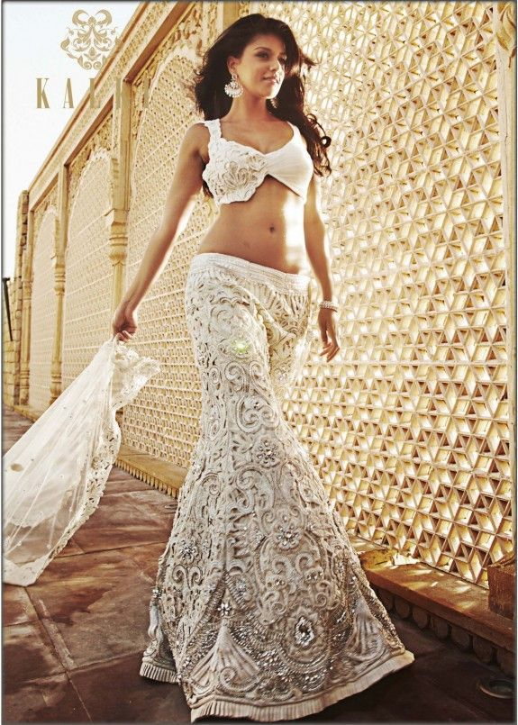Lengha by Kalki Fashion - this would be soo perfect for brides looking to wear the white reception outfits :)
